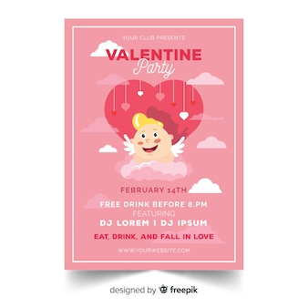 Cupid on cloud valentine party poster template
