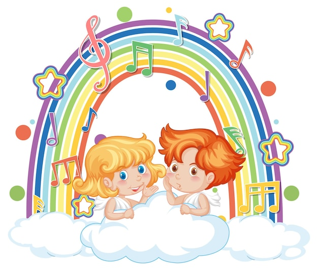 Cupid couple holding with melody symbols on rainbow