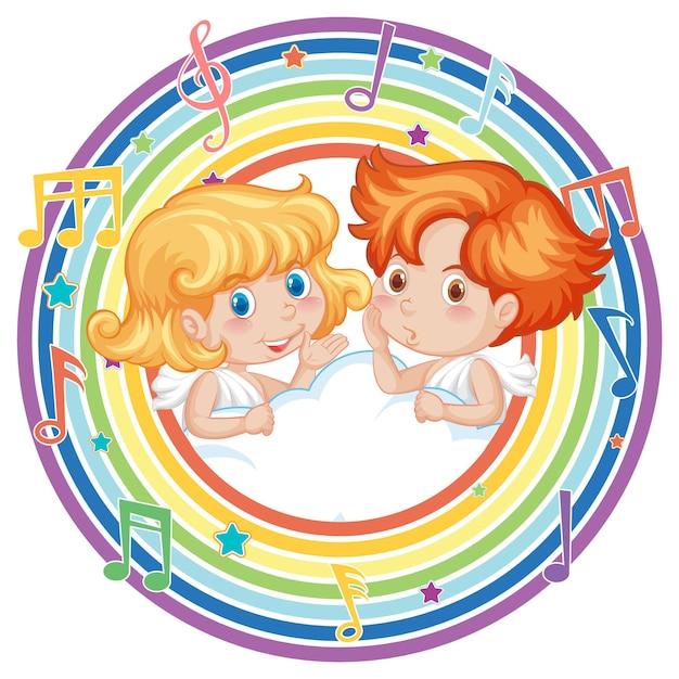 メロディーのシンボルと虹のラウンドフレームのキューピッドカップル