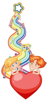 Cupid couple with melody symbols on rainbow wave
