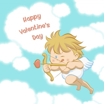 Cupid flying among heart shaped cloud