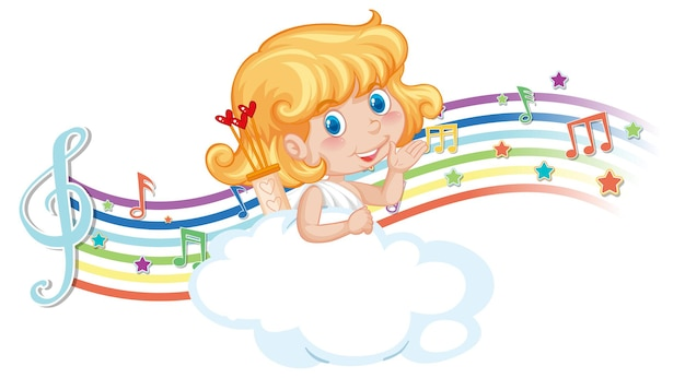 Cupid girl character on the cloud with melody symbols on rainbow