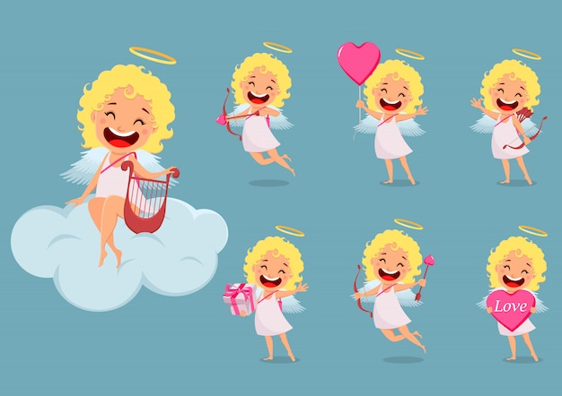 Cupid girl, cute cartoon character set