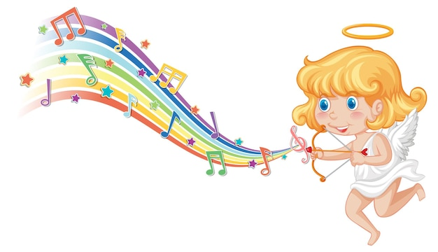 Cupid girl holding bow and arrow with melody symbols on rainbow