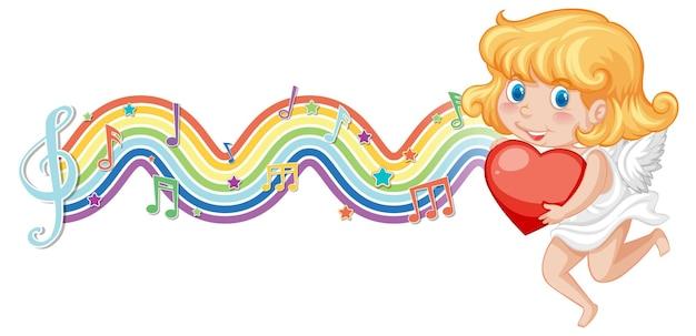 虹の波のメロディーシンボルとハートを保持しているキューピッドの女の子