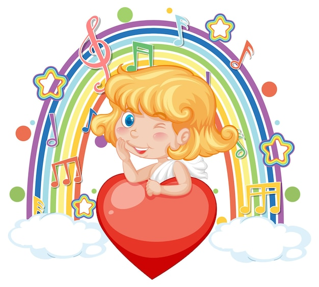 Cupid girl holding heart with melody symbols on rainbow