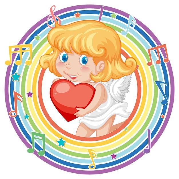 メロディーのシンボルと虹の丸いフレームのキューピッドの女の子