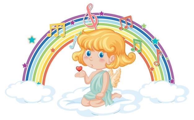 虹のメロディーシンボルと雲の上のキューピッドの女の子