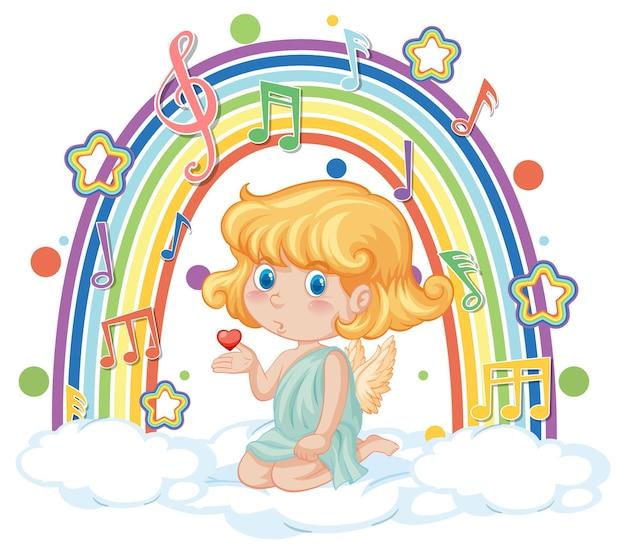 虹のメロディーシンボルと雲の上のキューピッドの女の子 Premiumベクター