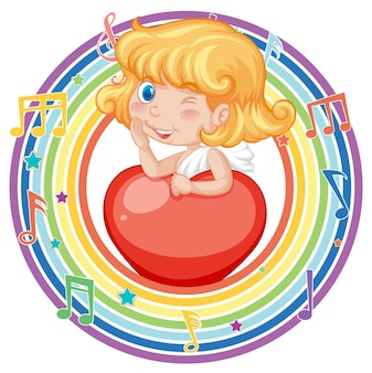 Cupid girl in rainbow round frame with melody symbol