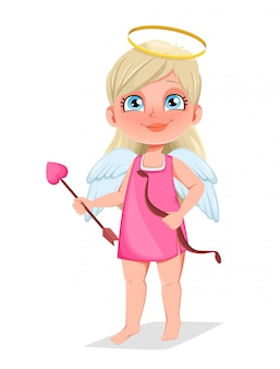 Cupid girl with bow and love arrow