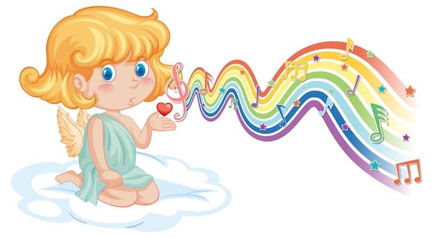 虹の波にメロディーのシンボルを持つキューピッドの女の子