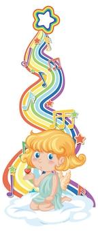 Ragazza cupido con simboli melodia sull'onda arcobaleno
