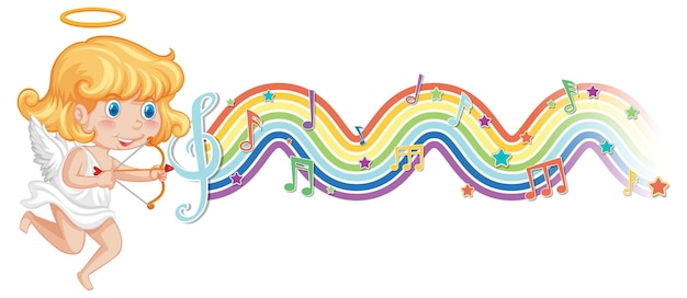 Cupid girl with melody symbols on rainbow wave