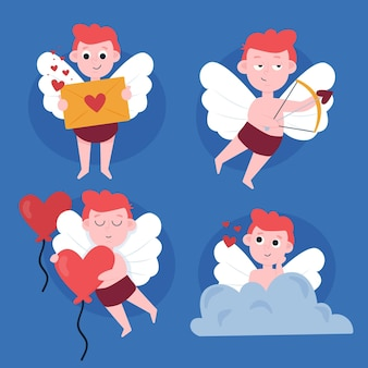 Cupid hand drawn character collection Free Vector