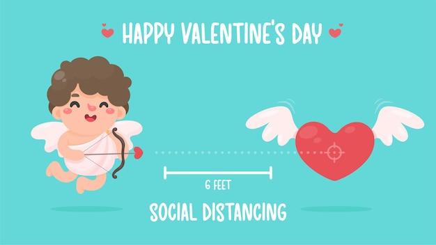 キューピッドは弓を持って、心臓に矢を向けました。バレンタインデーのための社会的距離