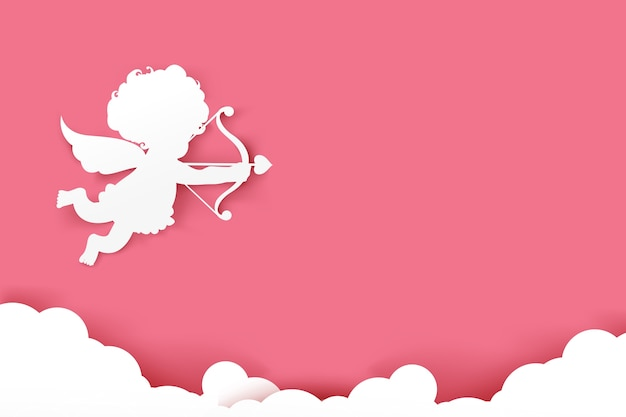 Cupid holding arrow on pink background