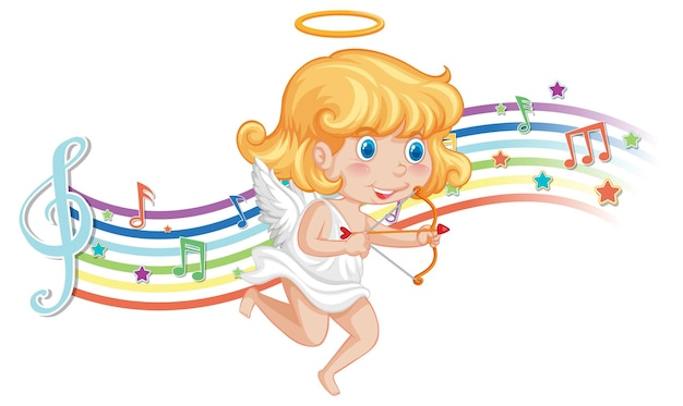 Cupid holding bow and arrow with melody symbols on rainbow