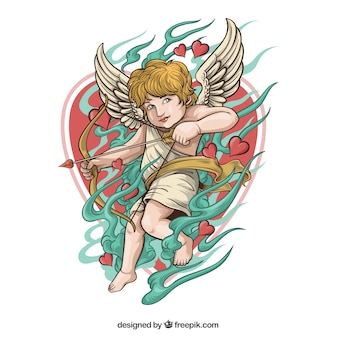 Cupid illustration with bow and date