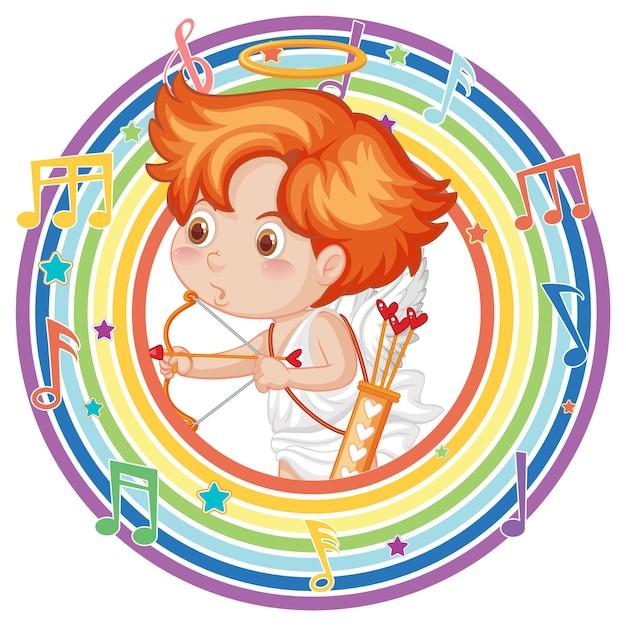 メロディーのシンボルと虹の丸いフレームのキューピッド
