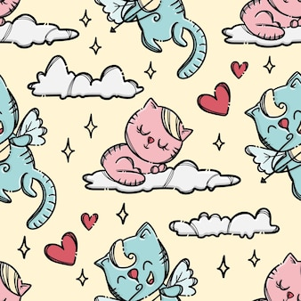 Cupid kitten cat shoots archery to little cat sleepping on cloud in pink sky. hand drawn cartoon seamless pattern