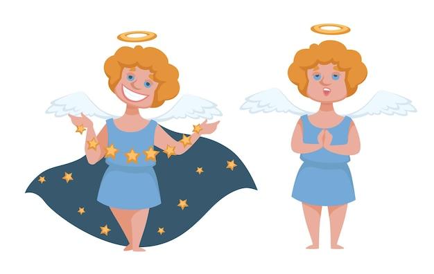 ハローと翼を持つキューピッドまたは天使。マントを着て星を投げて笑っている小さな男の子。休日の子供のためのケルブの衣装。メリークリスマスと新年あけましておめでとうございますカードの装飾。フラットスタイルのベクトル