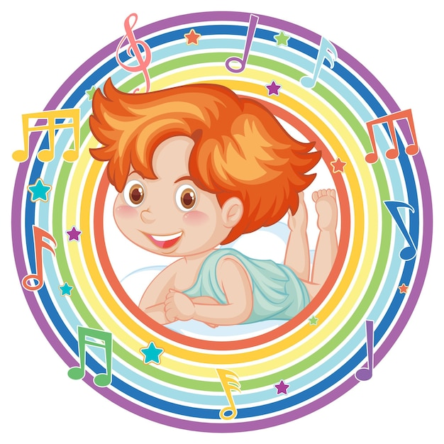 Cupido in cornice rotonda arcobaleno con simbolo melodia