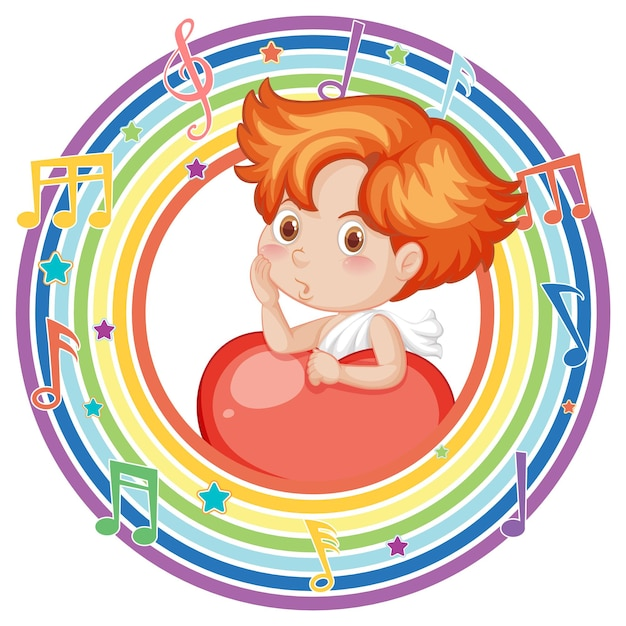Cupid in rainbow round frame with melody symbol