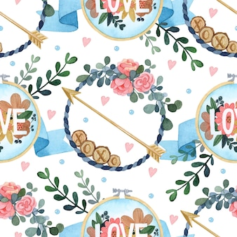 Cupid's arrow watercolor seamless pattern valentine's day