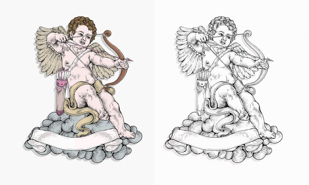 Cupid targeting with his bow in hand drawing