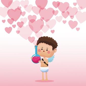 キューピッドバレンタインデーのエリクシル愛の心の背景