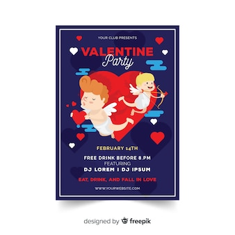 Cupid valentine party poster template