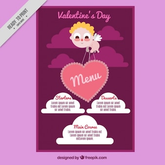 Cupid valentine's menu with a heart