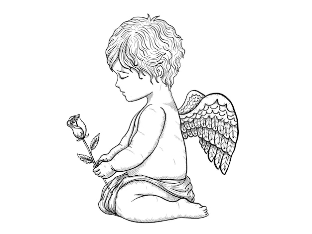 Cupid vector by hand drawing