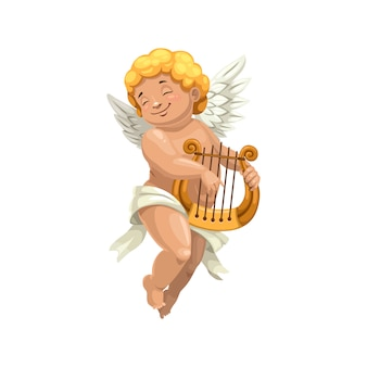 Cupid winged boy playing on harp isolated