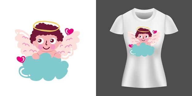 셔츠에 큐피도 캐릭터 디자인 프린트.