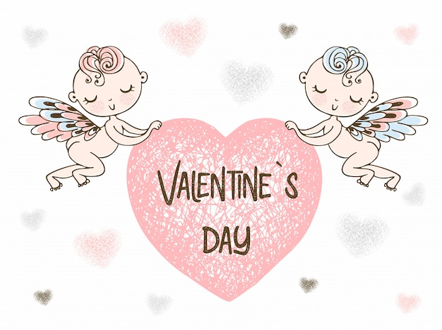 Купидоны несут большое сердце. с днем святого валентина.