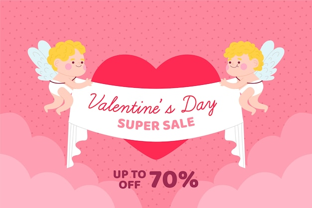 Cupids holding ribbon with offers valentine's day sale