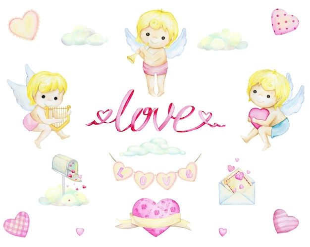 Cupids, letters love, clouds, hearts. watercolor set, elements, in cartoon style, on an isolated background.