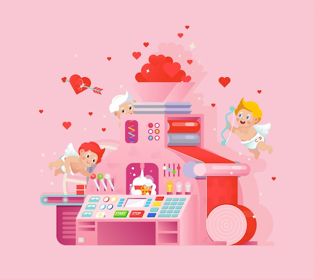 Cupids workplace love gift factory.