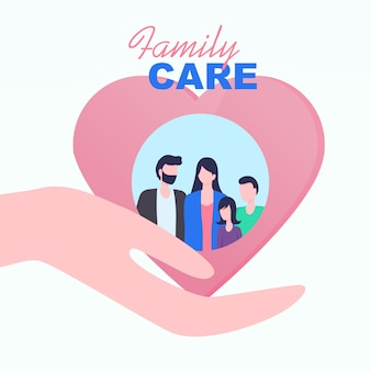 Cupped hand palm heart family care vector illustration.