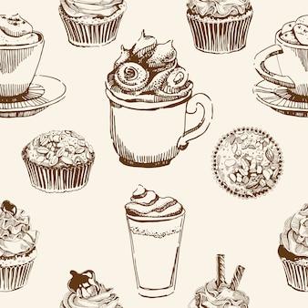 カップとお菓子のシームレスパターン