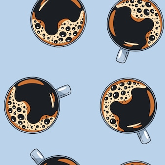 Cups of coffee hand drawn cute cartoon mugs seamless pattern
