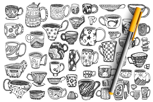 Cups doodle set. collection of different hand drawn decorated coffee tea mugs full with beverages