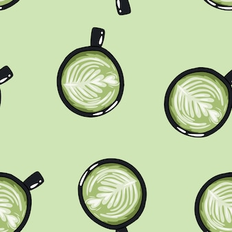 Cups of green coffee. hand drawn cute cartoon mugs seamless pattern.