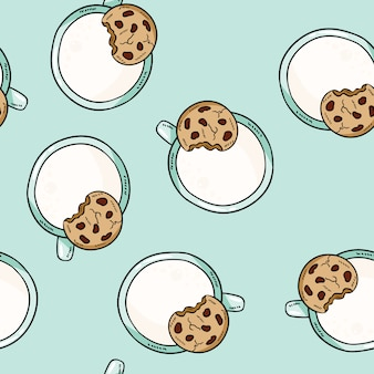 Cups of milk and oat cookie cute cartoon seamless pattern.