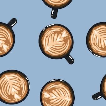 コーヒー1杯手描きかわいい漫画マグカップシームレスパターン。テクスチャ背景