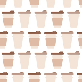 Чашки кофе пойти бесшовные модели. кафе или кофейня фон сладости. вкусный напиток в чашке. векторная иллюстрация для дизайна меню для кондитерских, кондитерских, чайных
