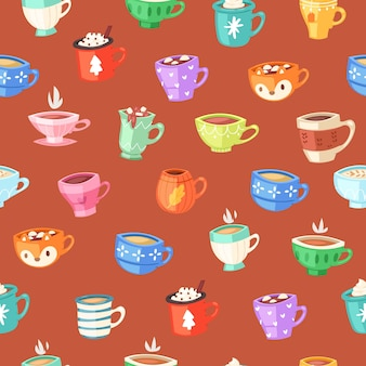 Cups seamless pattern, drink coffee wallpaper concept, retro illustration, vintage ,    illustration. cute dishware element, decorative ornament, kitchenware collection.