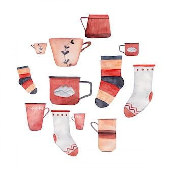 Cups and socks watercolor illustration collection